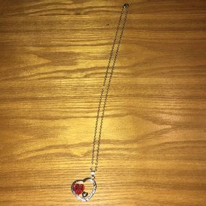 Silver Diamond Heart Necklace NEW